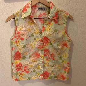 Shaver Lake- pretty/light floral sleeveless top